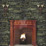 Plain Stone Wall with fireplace and double lights
