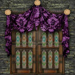 Plain Wall With Tall Window And Purple Swag