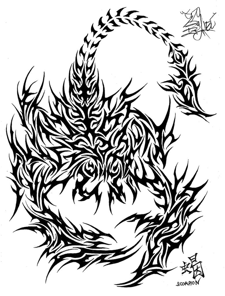 Tribal Scorpion Tattoo Design Drawings