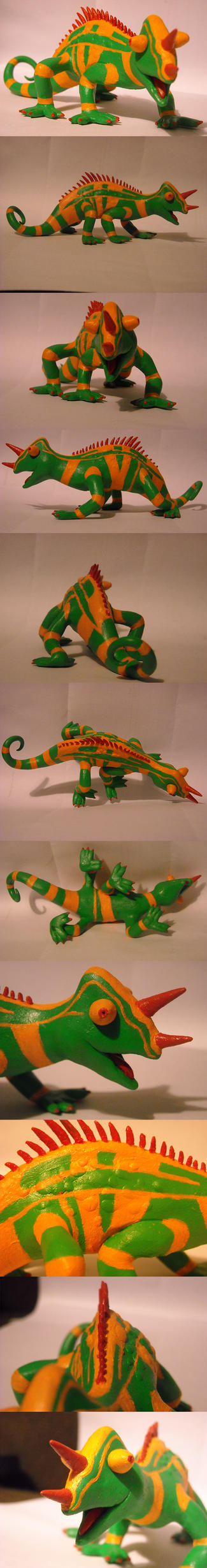 Nwaba the chameleon sculpture by Iron-Zing
