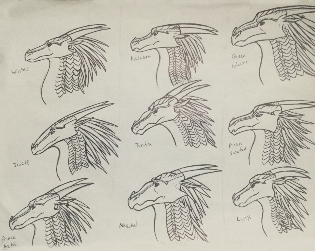 Wings of Fire: Icewing character studies by Iron-Zing