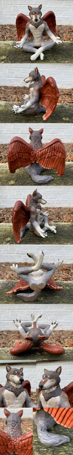 Winged Wolf sculpture