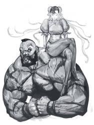 Chun Li and Zangief by masateru