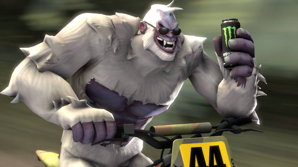 A motorbiking, monster drinking yeti with glasses