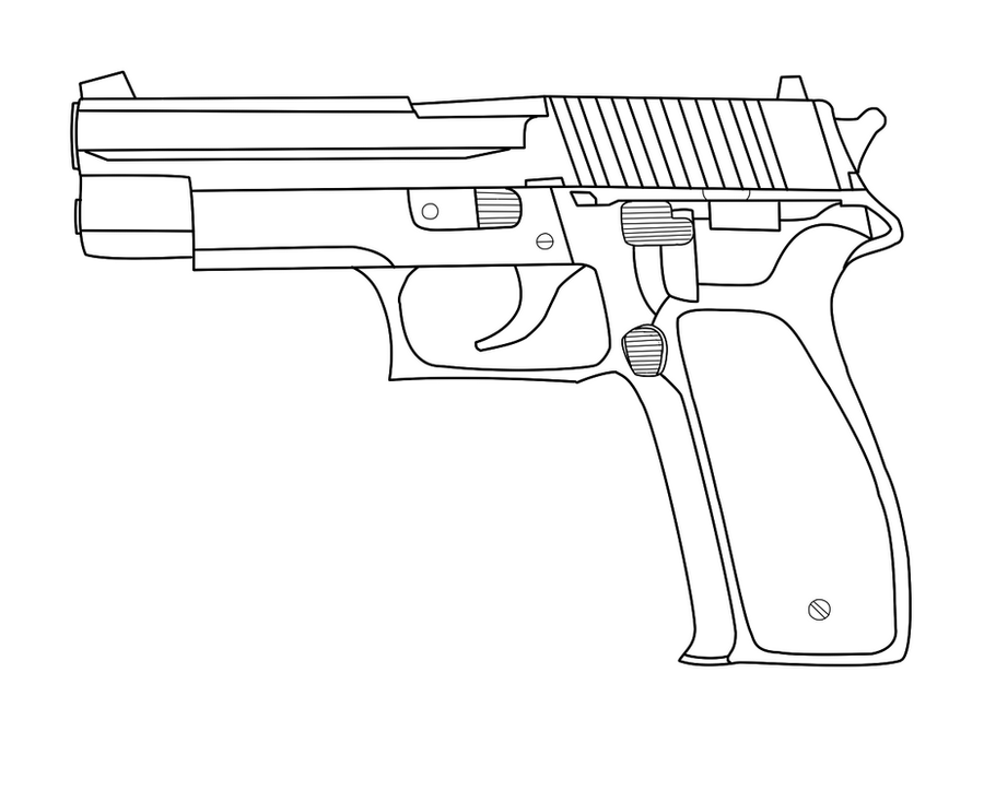 One Line Art Gun : Handgun lineart by dasaru on deviantart