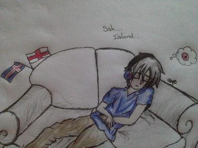 Hetalia.  Ssh Island Sover (ssh Iceland is sleep) by PokeMonica13