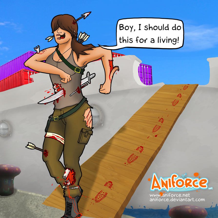This is how I imagine Lara getting off the island. by Aniforce