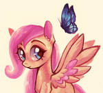 Filly Fluttershy and butterfly
