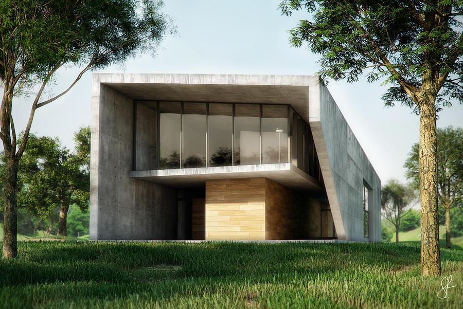 concrete house by evilios on deviantart