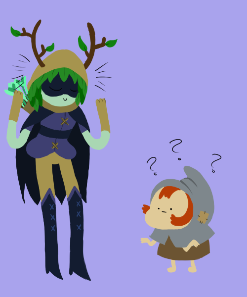 huntress wizard and Penny comparing antlers by fallenjrblue