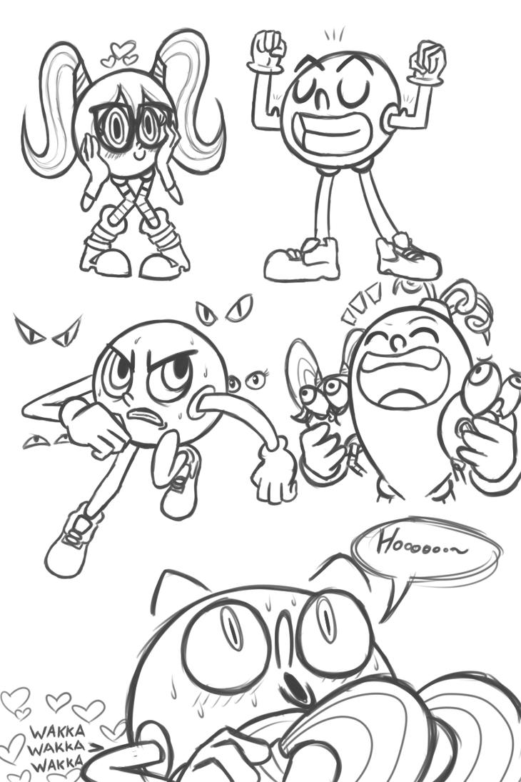 pac man doodles by fallenjrblue
