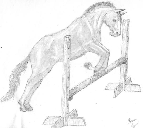 how to draw a horse jumping easy