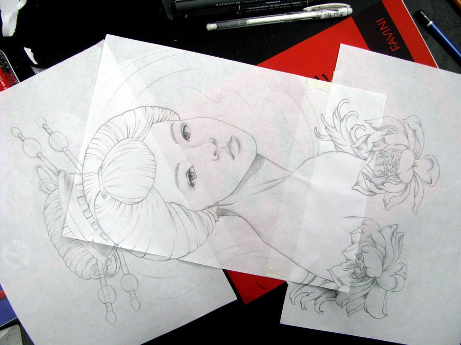 sketch of geisha by LolaPoleggi