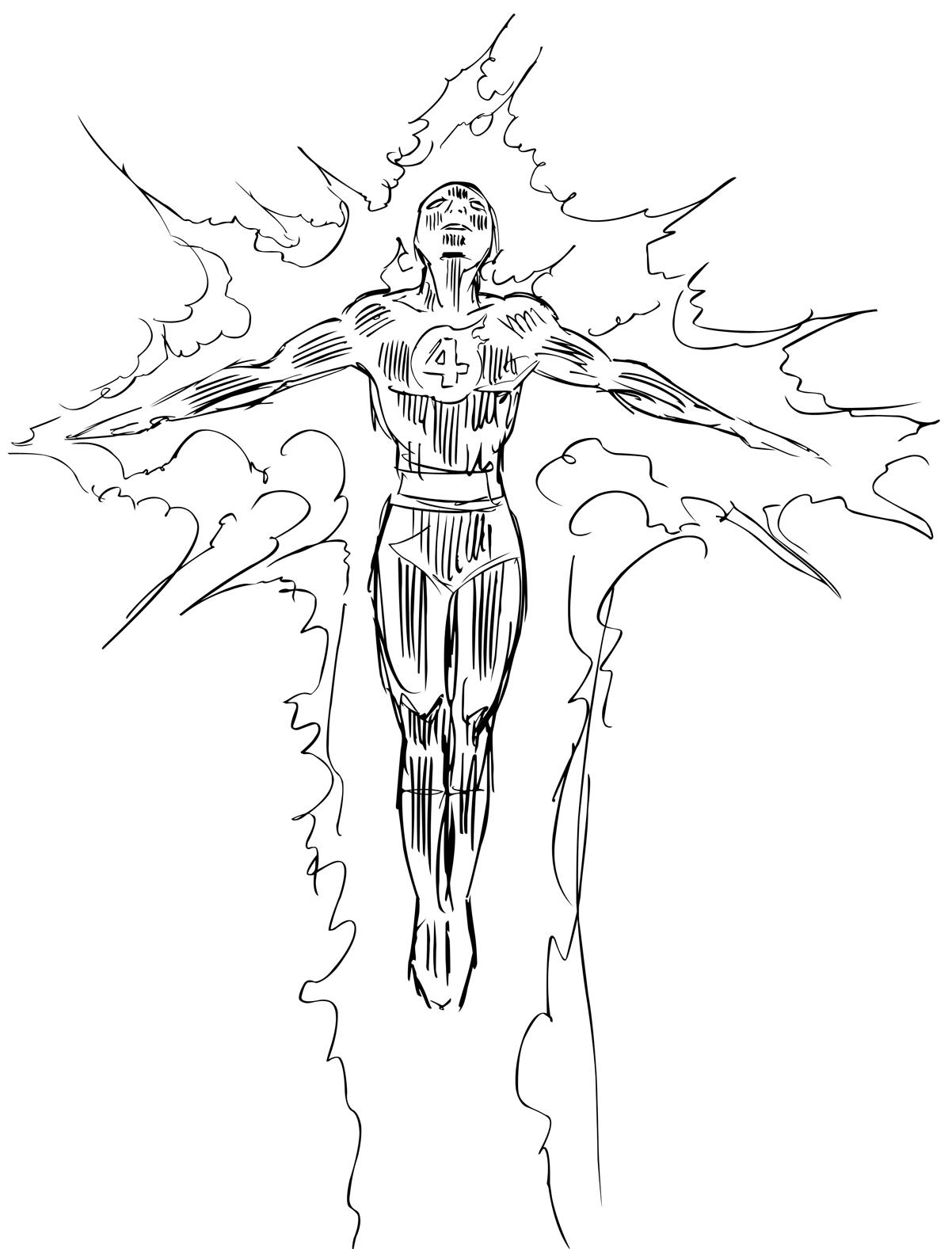 the human torch coloring pages - photo#12