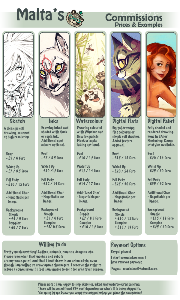 Commission Price List 2012 by malta