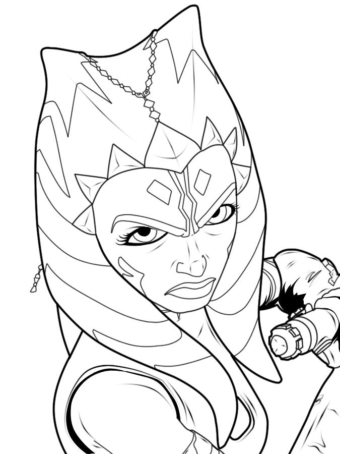 Line Drawing Vs Value Drawing : Ahsoka line art by forcecrush on deviantart