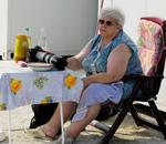 Granny with big white 'L' lens