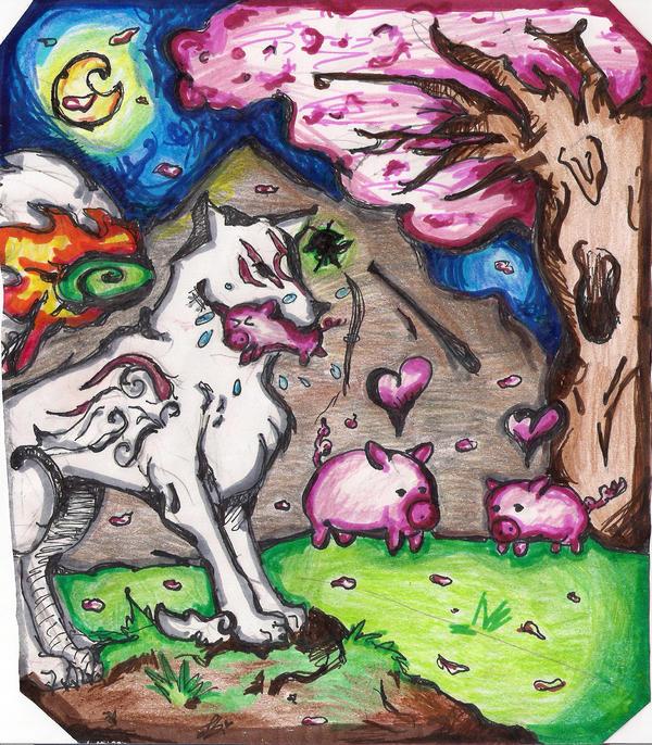 Okami- Poor Little Piggy by Frostpool