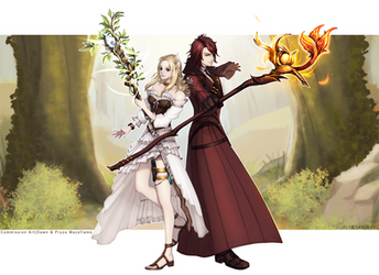 [Commission Art] The Mazeflame siblings