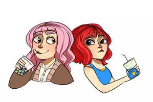 Emilia and Kristen OC's by Questathana