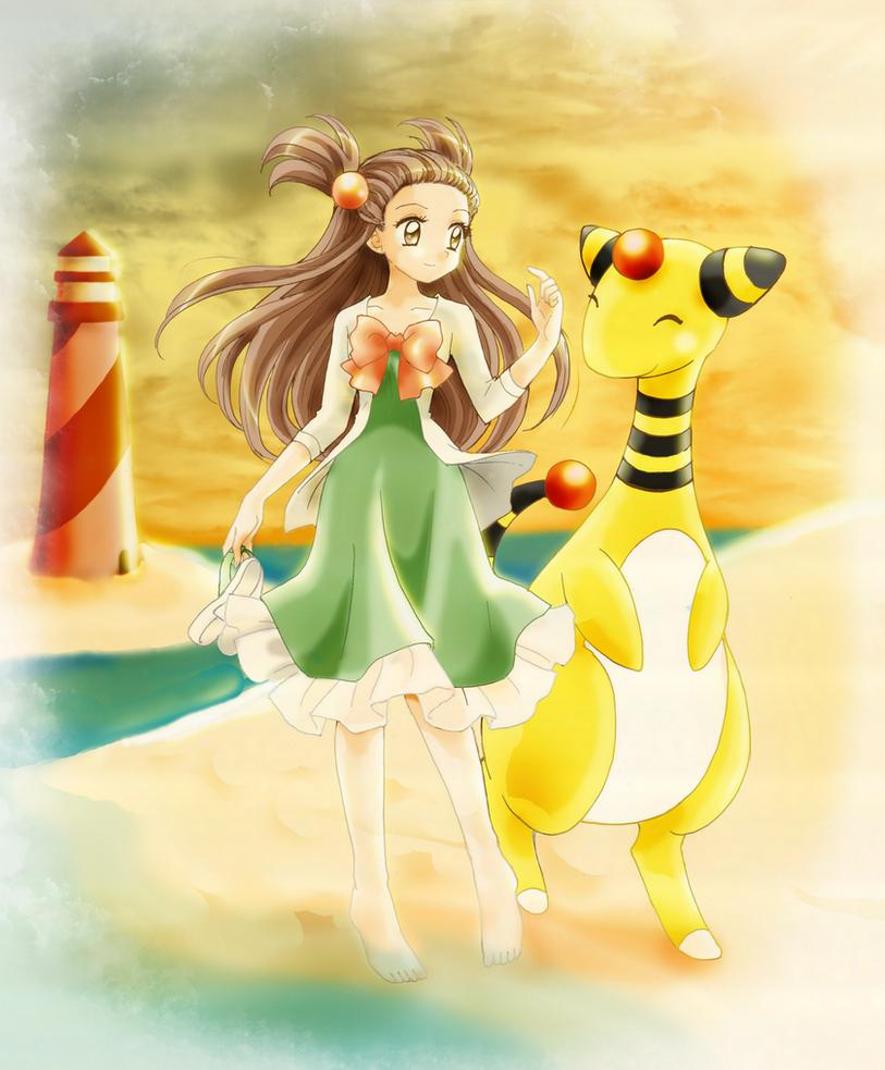 Jasmine and Amphy by chikorita85
