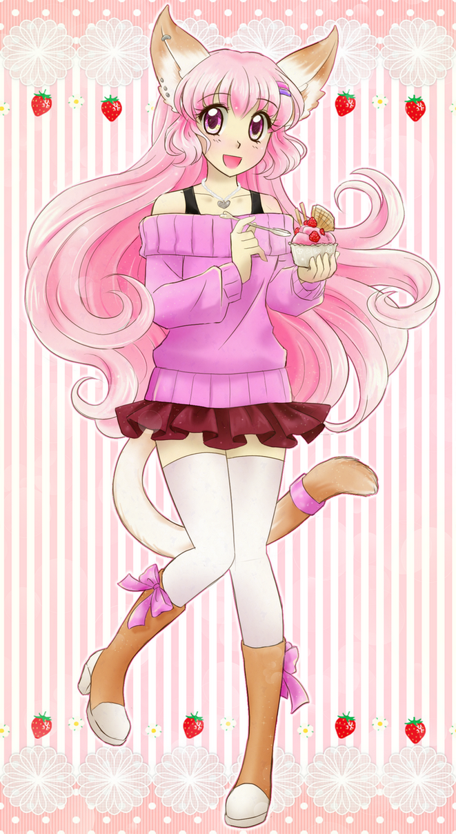 Pink catgirl- commission by chikorita85