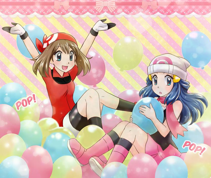 Girls popping balloons #2