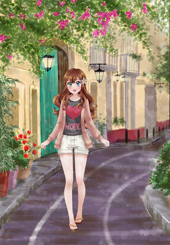 Cute Girl with beautiful background - Commission