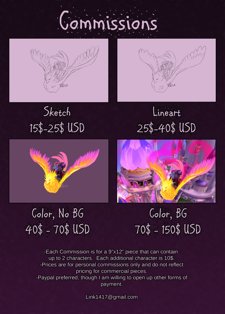 Commission Prices - OPEN plus TERMS OF SERVICE by querulousArtisan