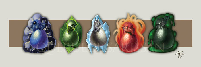 DnD Chromatic Dragon Hatchling Charm Concept by querulousArtisan