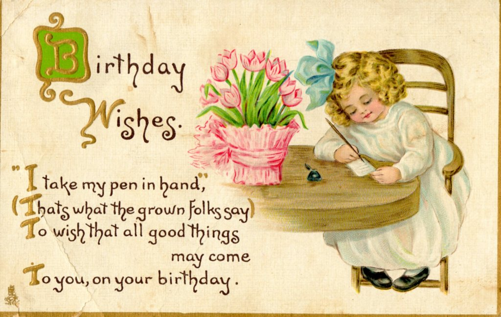 Cute Old Postcard With Birthday Wishes By Campcounts