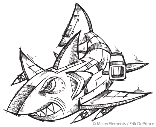 cyborg robot shark sketch by erikdeprince on deviantart. Black Bedroom Furniture Sets. Home Design Ideas