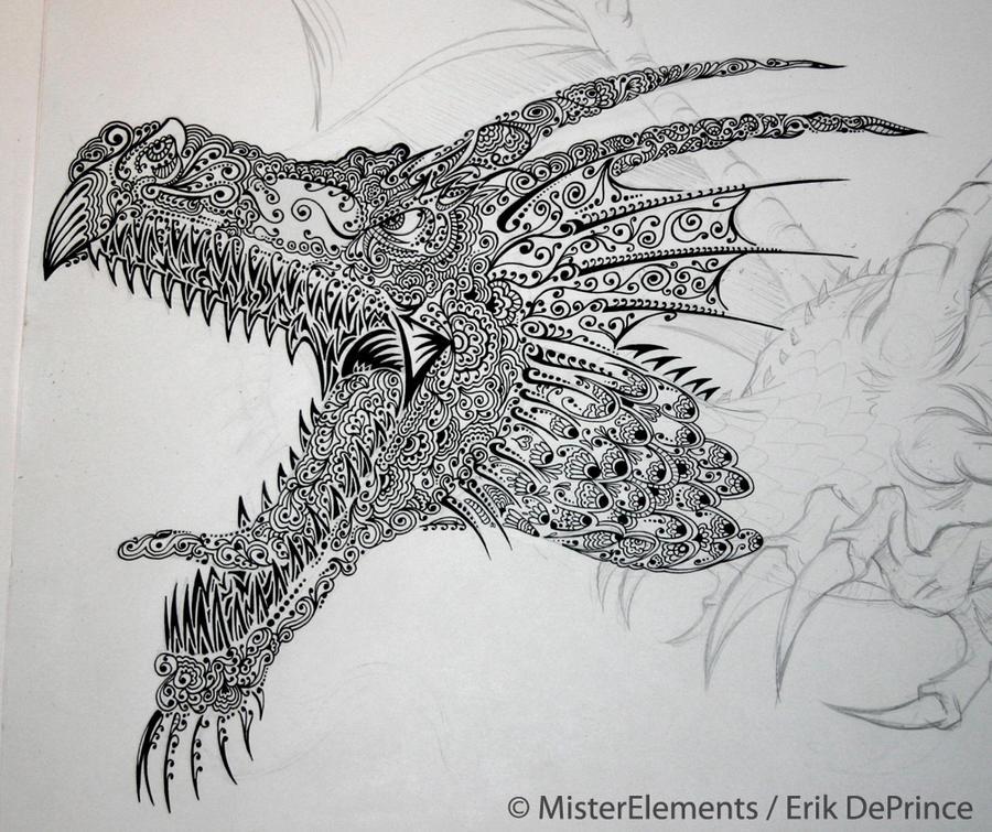 Henna doodle dragon in the works update by erikdeprince on deviantart