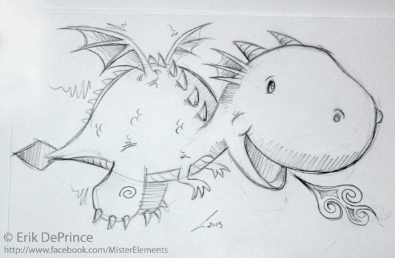 cute baby dragon sketch by erikdeprince