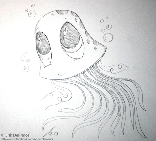 cute jellyfish sketch by erikdeprince