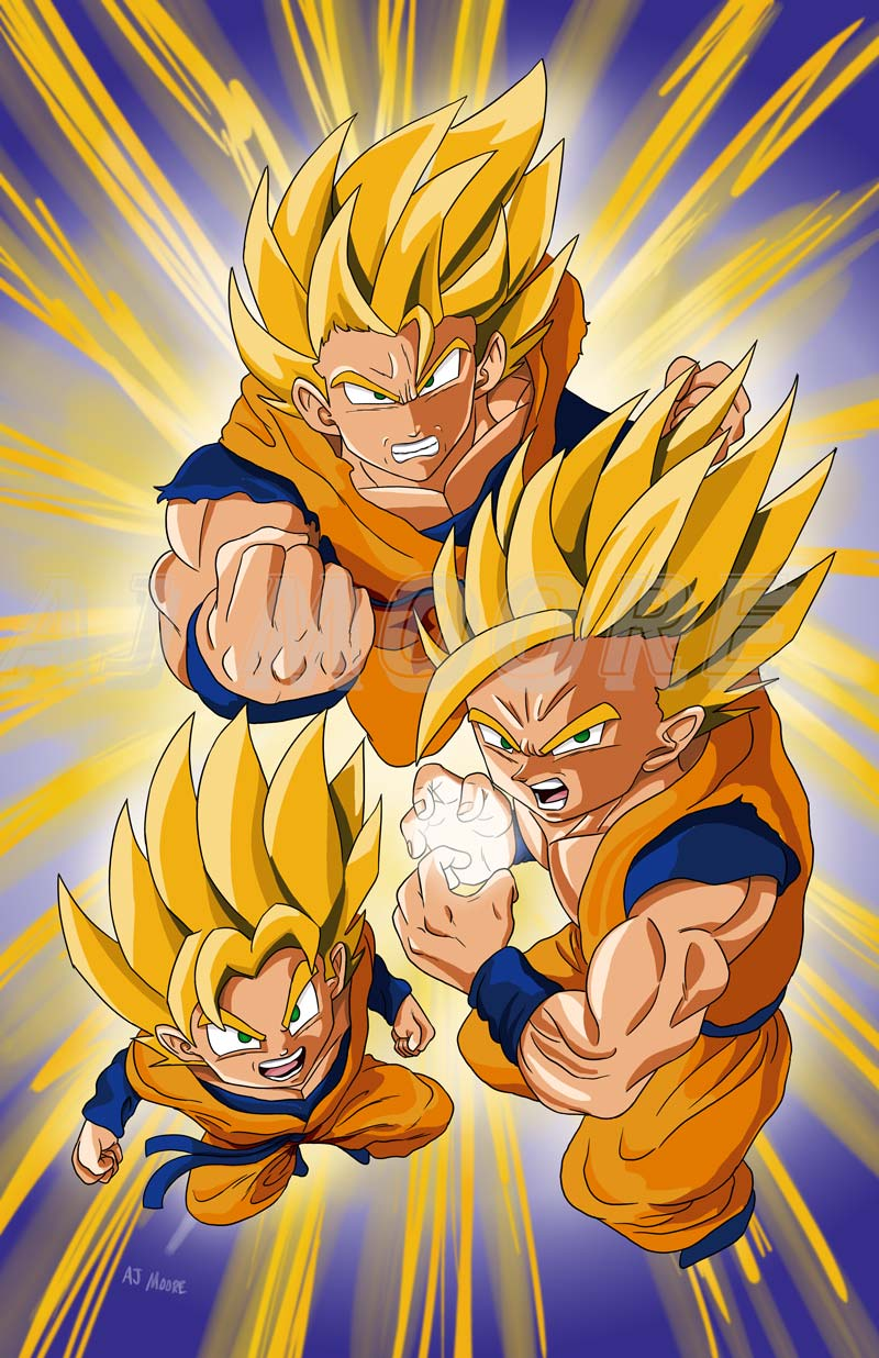 Goku, Gohan, Goten, Super Saiyan Dragonball Z by GudFit on ...