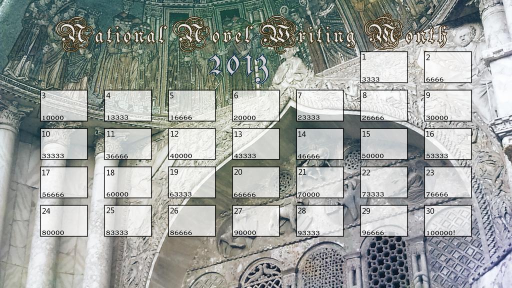 NaNoWriMo 2013 Calendar (100000 words) by wispofcloud