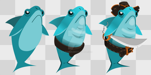 Pirate Shark (Humanized Animal | Sideview)