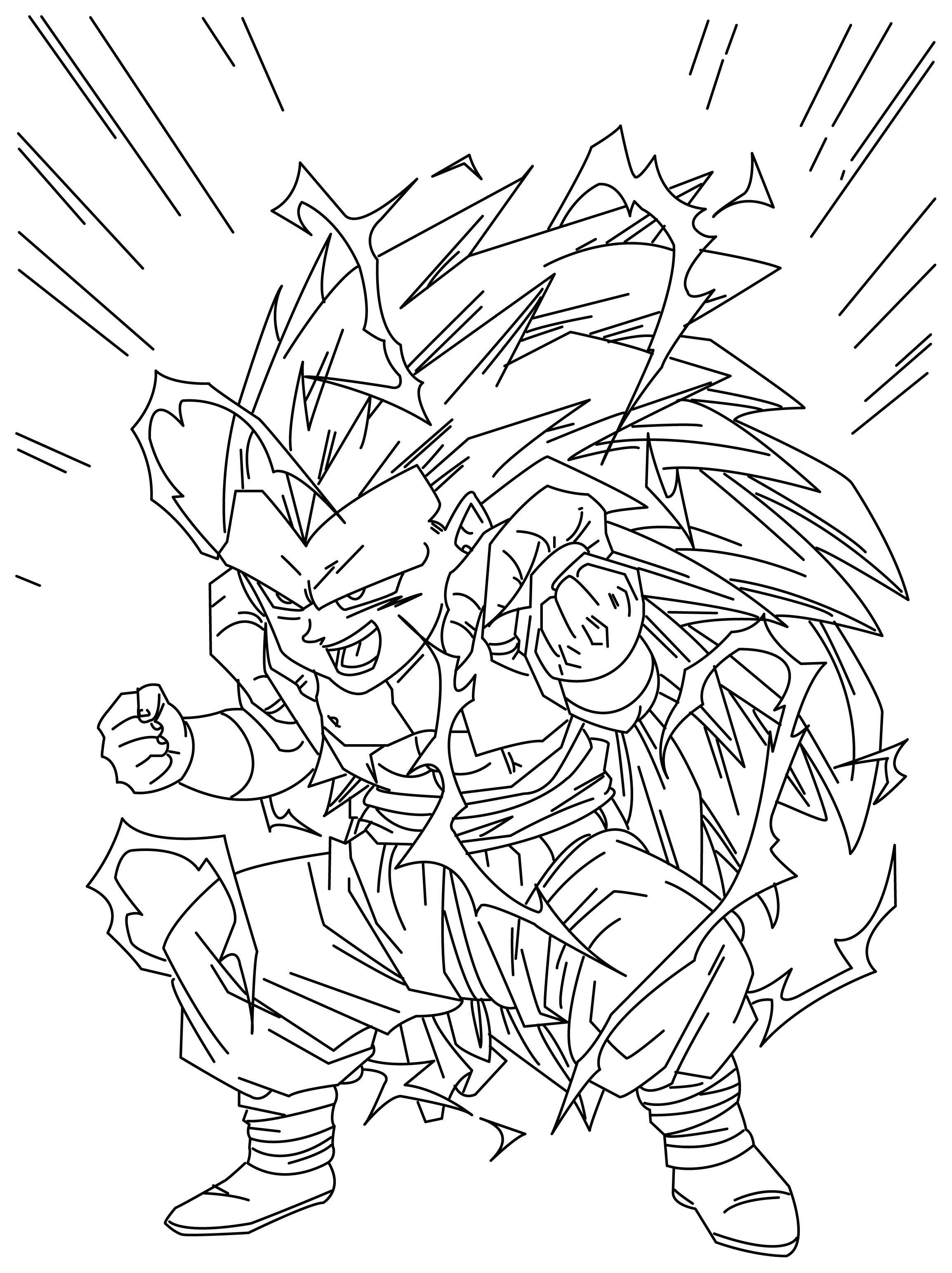 gotenks coloring pages - ssj3 gotenks by veana on deviantart