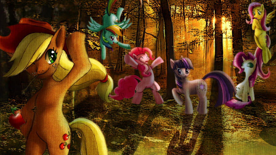Twilight in the forest with everypony by Lima-Hibiki