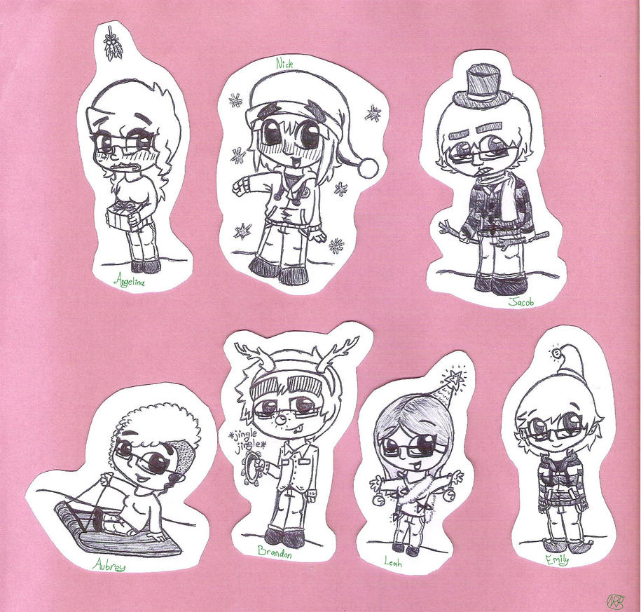 Christmas Paperdoll Chibis by uhnevermind