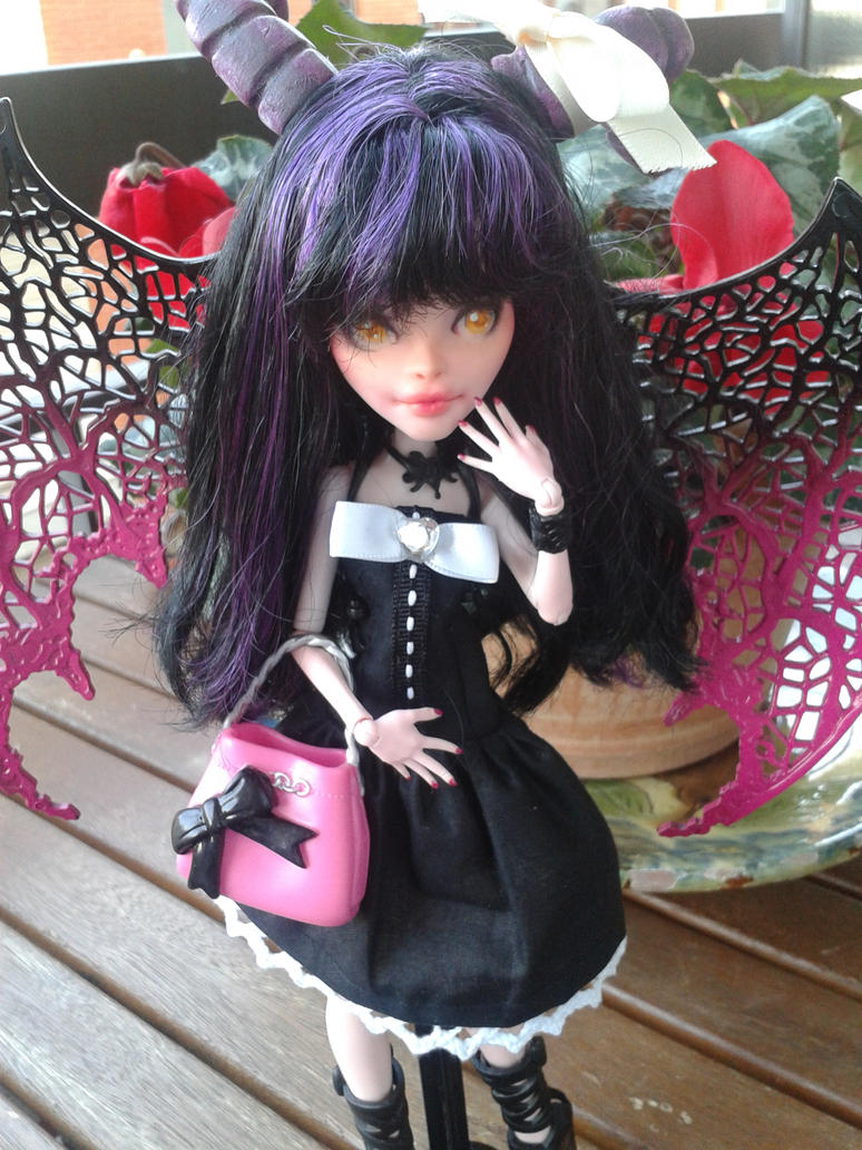 :Monster High:. Lilian custom doll black dress by Airinreika