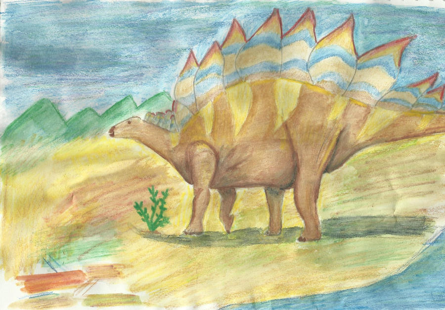 Stegosaurus water colour by riotgirlckb