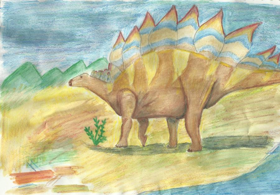Stegosaurus water colour by riotgirlckb