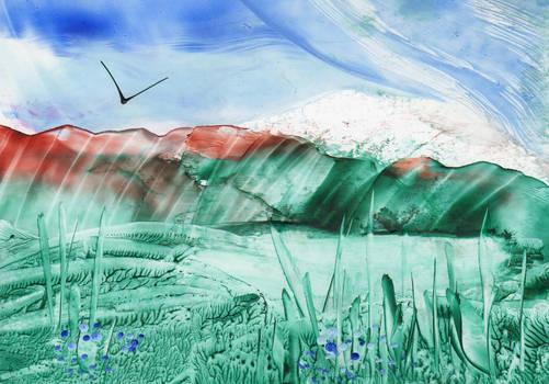 Encaustic art 29 - Lake scene