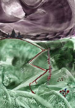 Encaustic art 31 - A5 Castles