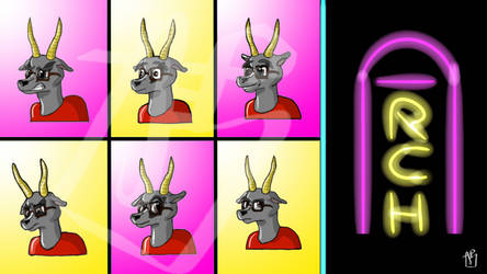 The Many Faces of Arch Elmer the Gray Gazelle by Parabola43
