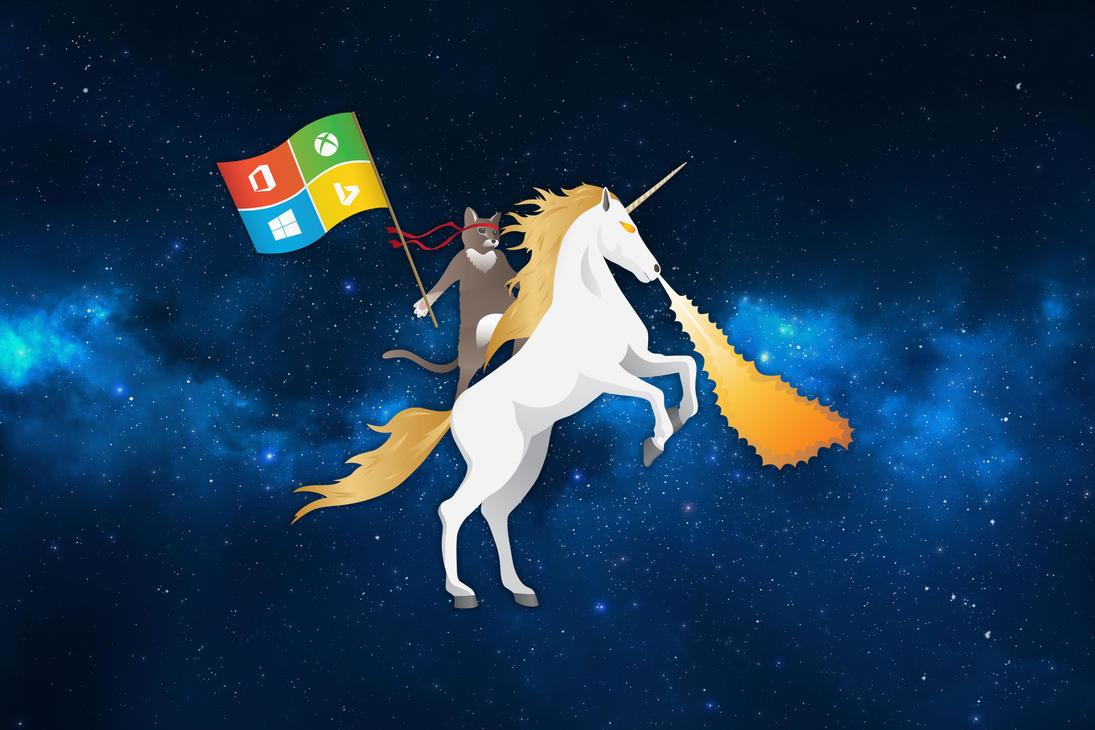 MS Ninja Cat Riding Unicorn Space Blue by flothegangsta