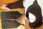 Crochet hood with matching gauntlets