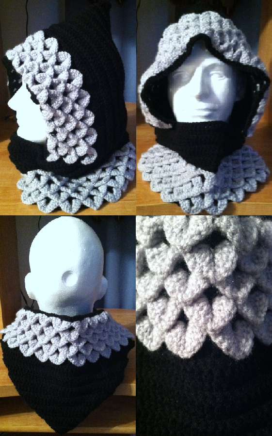 Dragon Scale Crocheted Hood Blacksilver By Arexandria On Deviantart